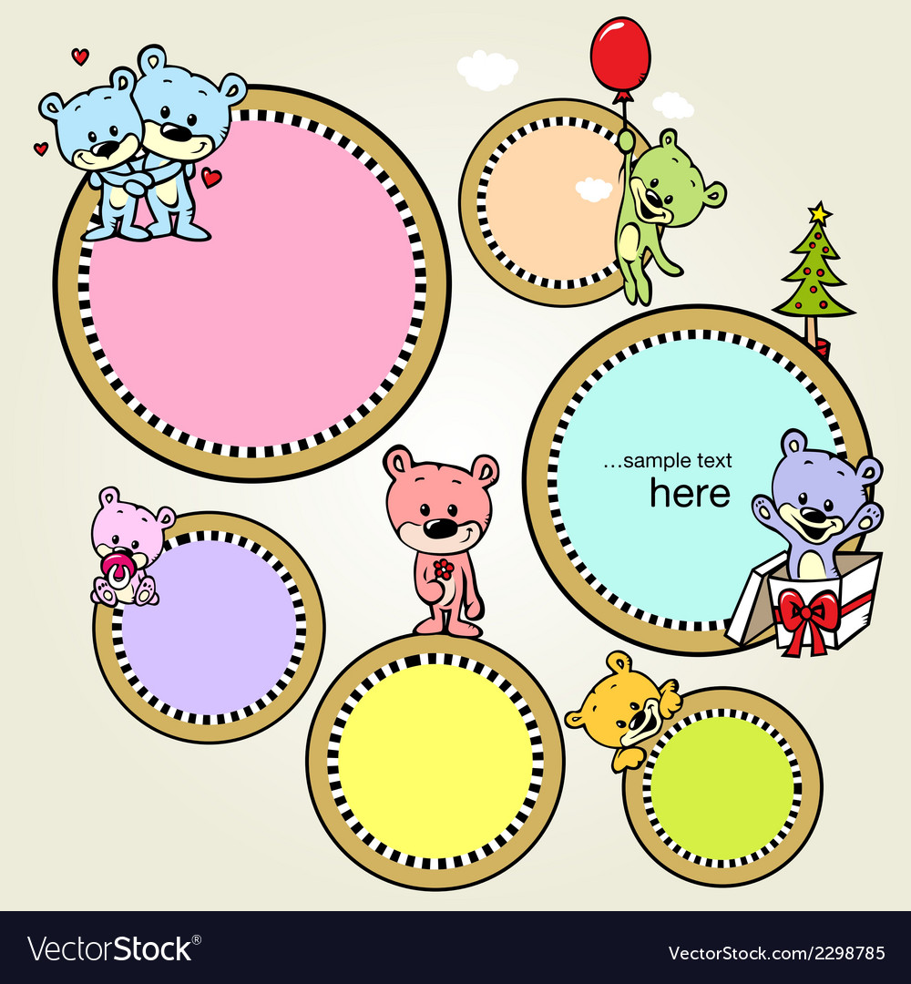 Speech bubble or frame with cute bears - vector | Price: 1 Credit (USD $1)