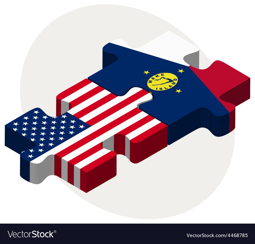 Usa and wake island flags in puzzle vector | Price: 1 Credit (USD $1)