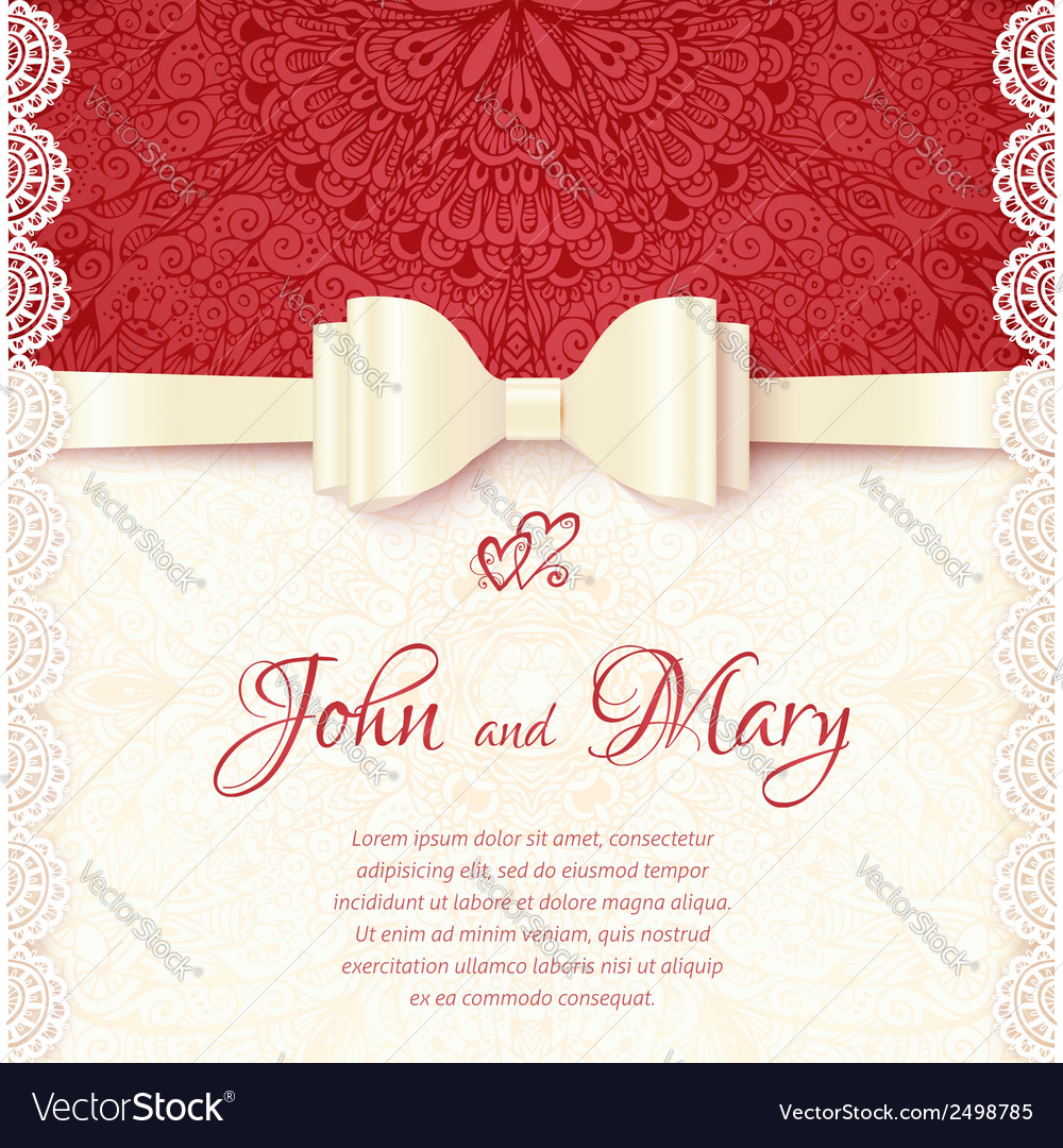 Vintage wedding card template vector | Price: 1 Credit (USD $1)