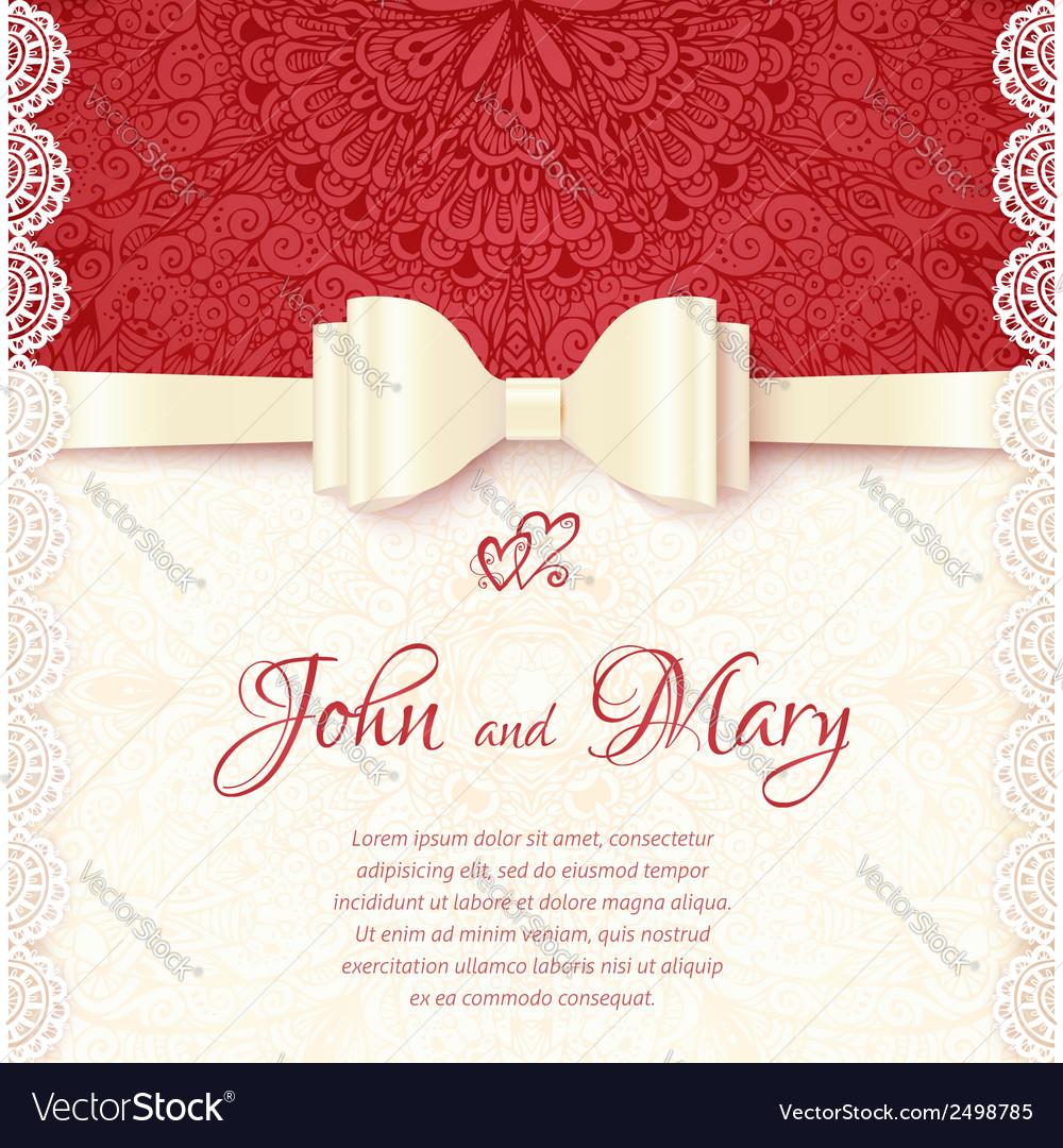 Vintage wedding card template vector | Price: 1 Credit (USD $1)