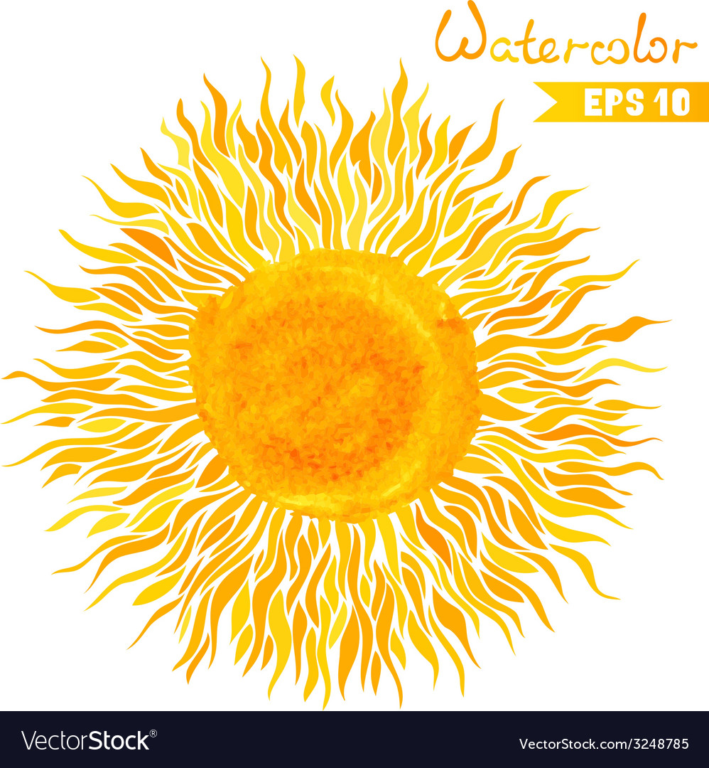 Watercolor sun vector | Price: 1 Credit (USD $1)