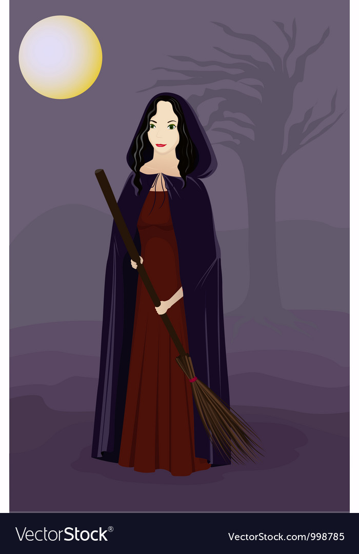 Witch in the night vector | Price: 1 Credit (USD $1)
