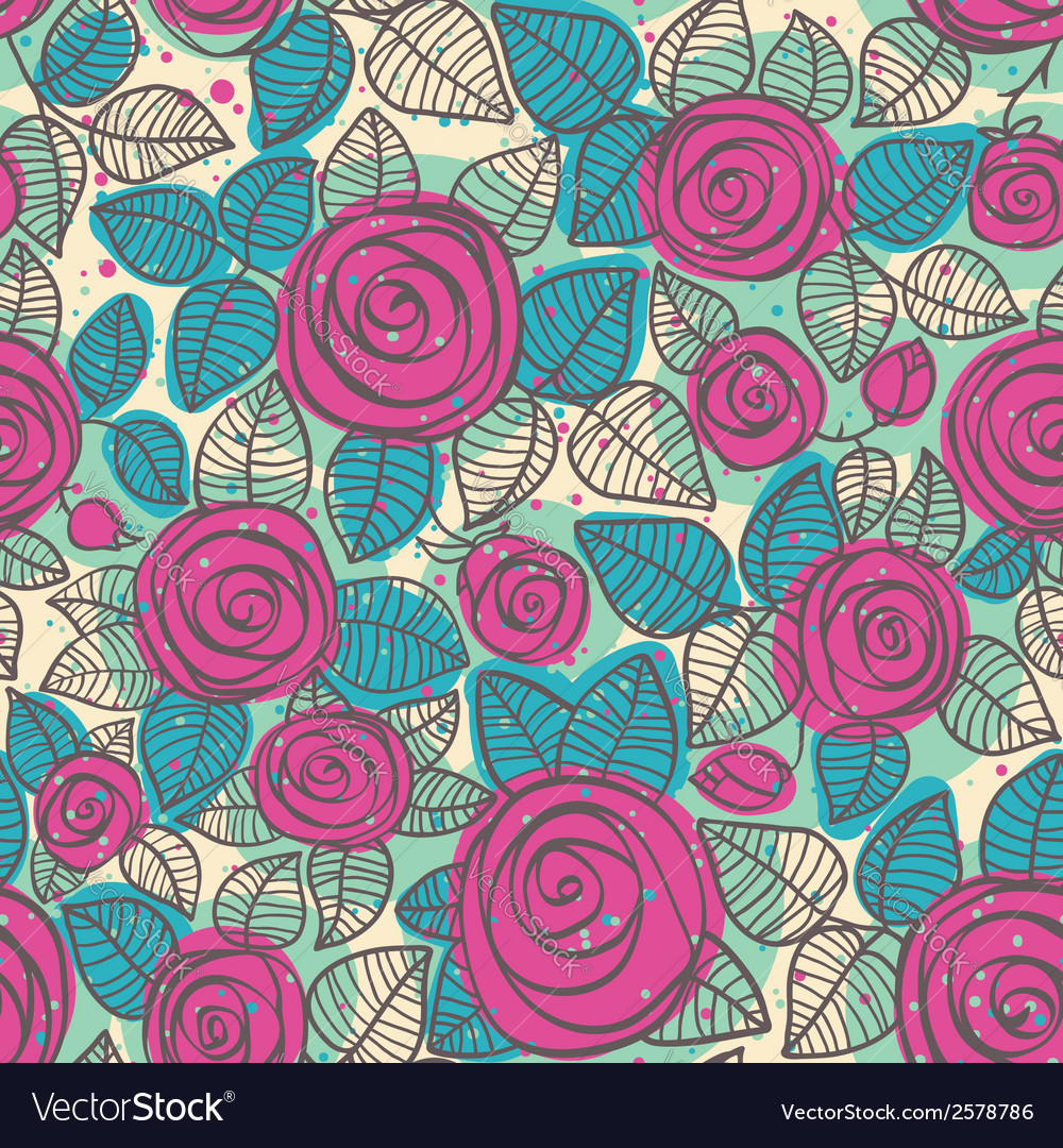 Abstract seamless pattern of roses vector | Price: 1 Credit (USD $1)