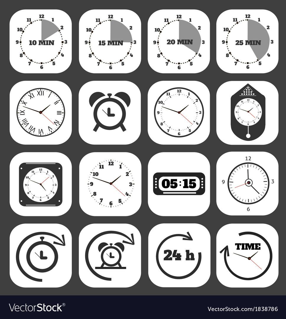 Black clocks icon vector | Price: 1 Credit (USD $1)
