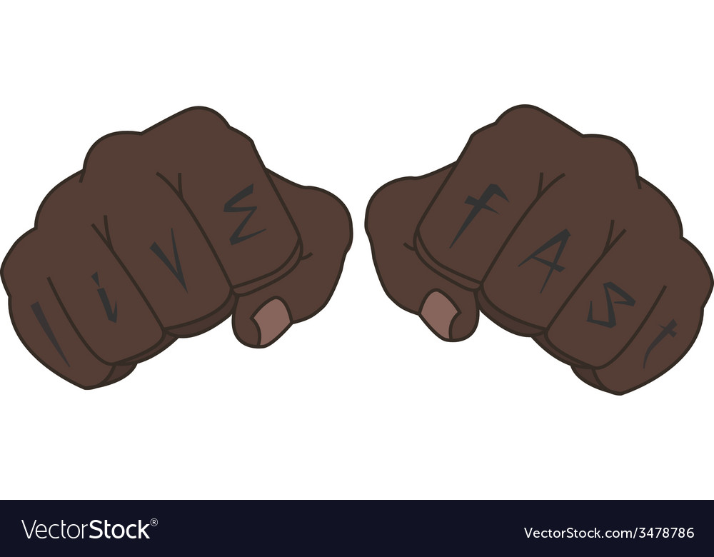 Black man fists with live fast tattoo vector | Price: 1 Credit (USD $1)