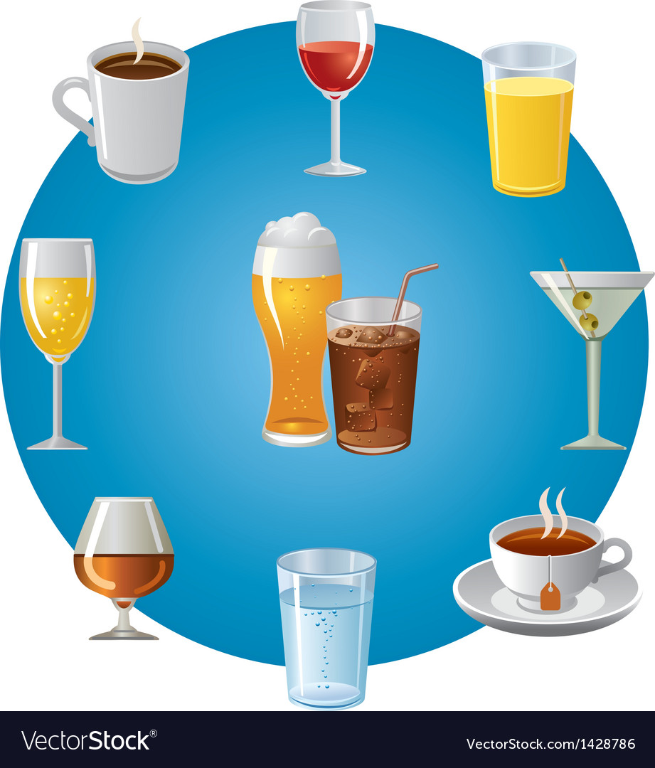 Drinks icon set vector | Price: 1 Credit (USD $1)