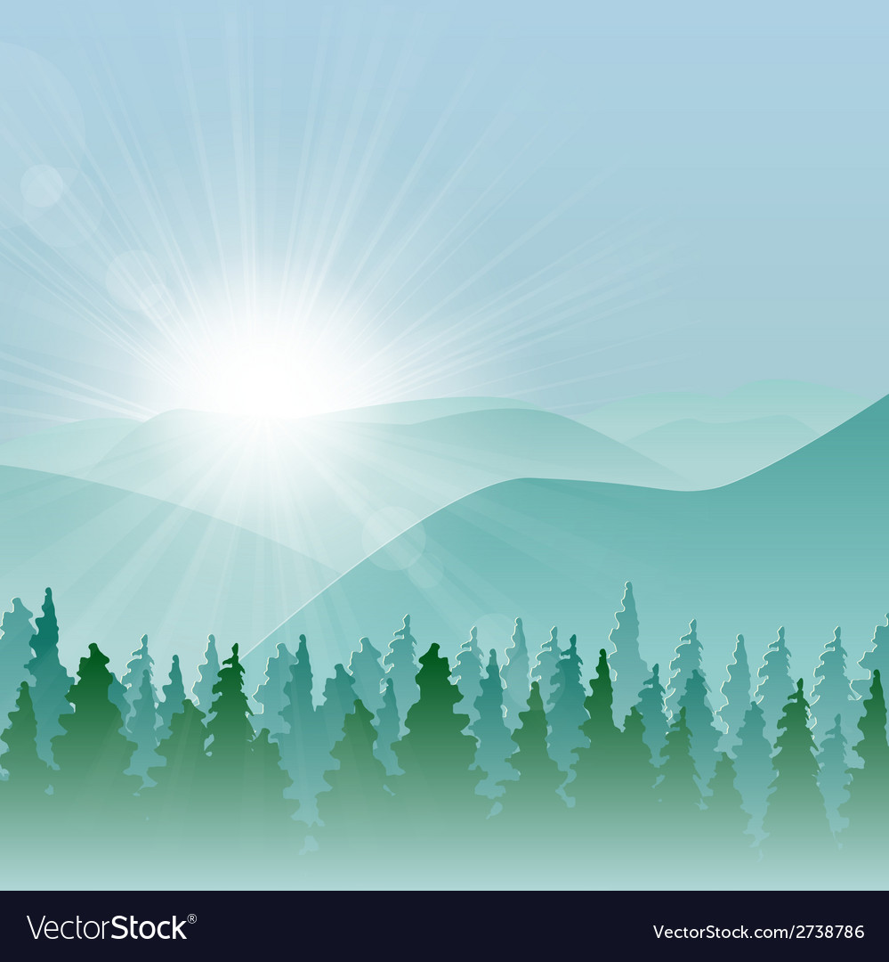Forest mountain background vector | Price: 1 Credit (USD $1)