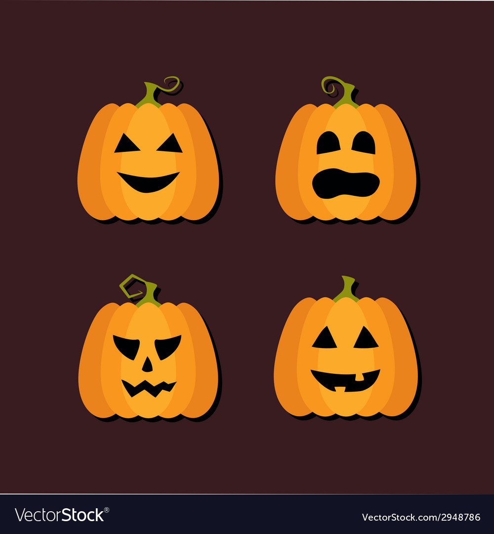 Four halloween flat icons vector | Price: 1 Credit (USD $1)