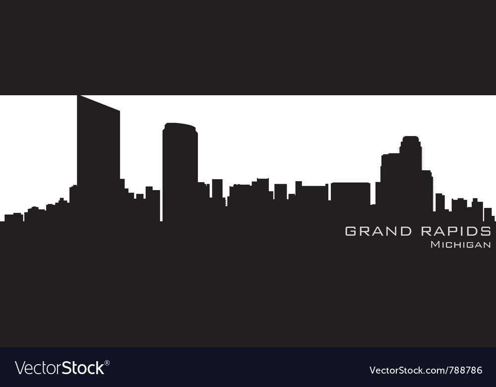 Grand rapids michigan skyline detailed silhouette vector | Price: 1 Credit (USD $1)