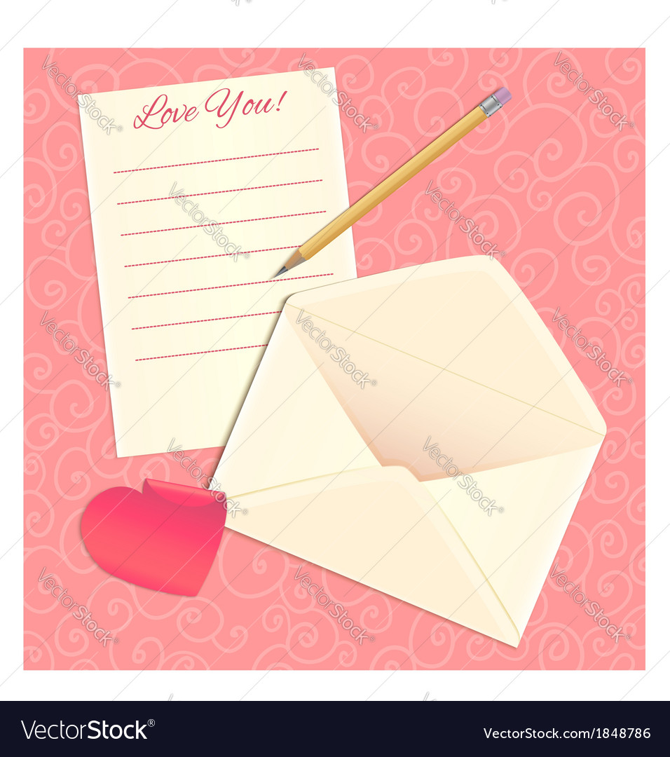 Love letter envelope and heart sticker eps10 vector | Price: 1 Credit (USD $1)