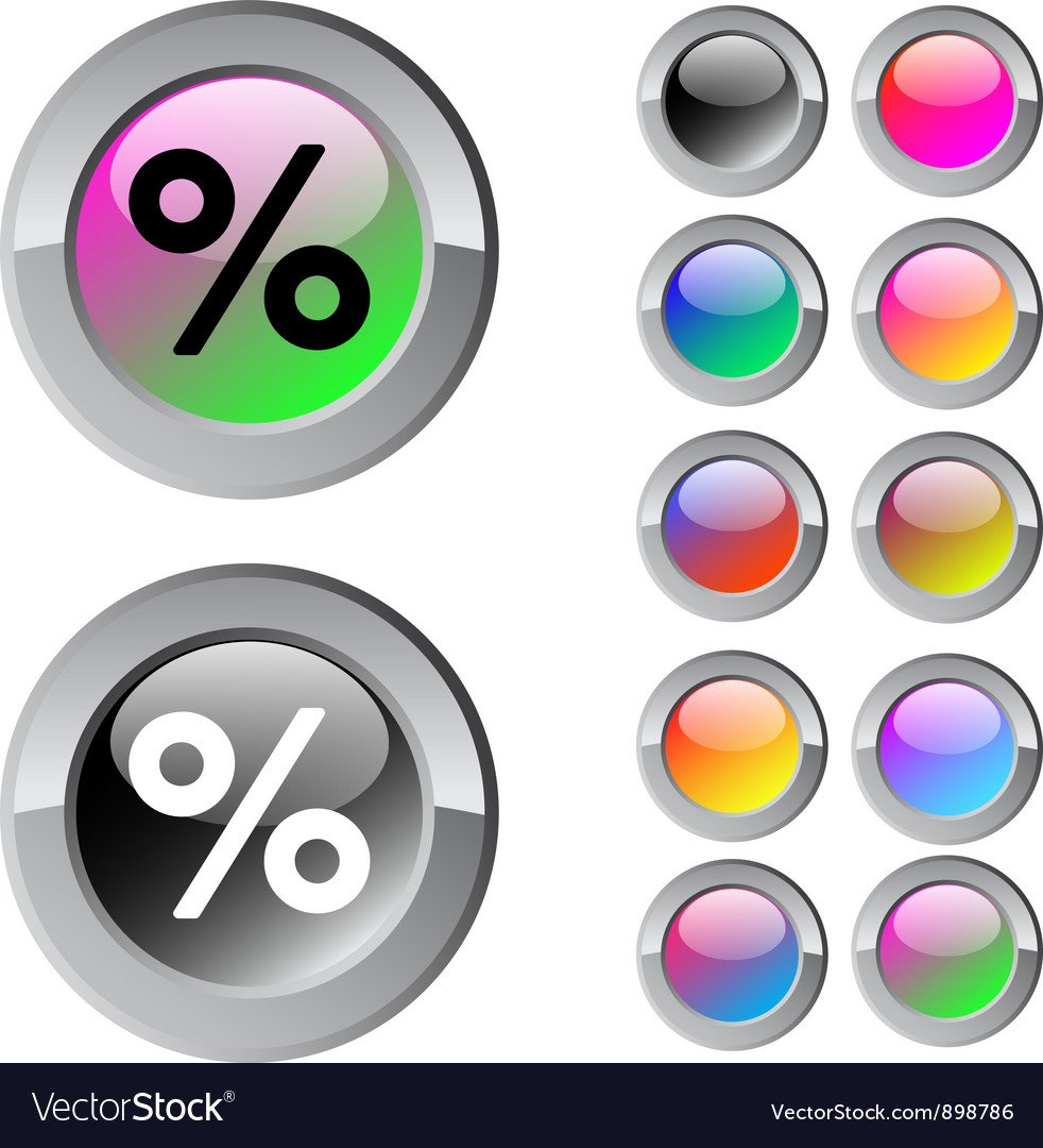 Percent multicolor round button vector | Price: 1 Credit (USD $1)