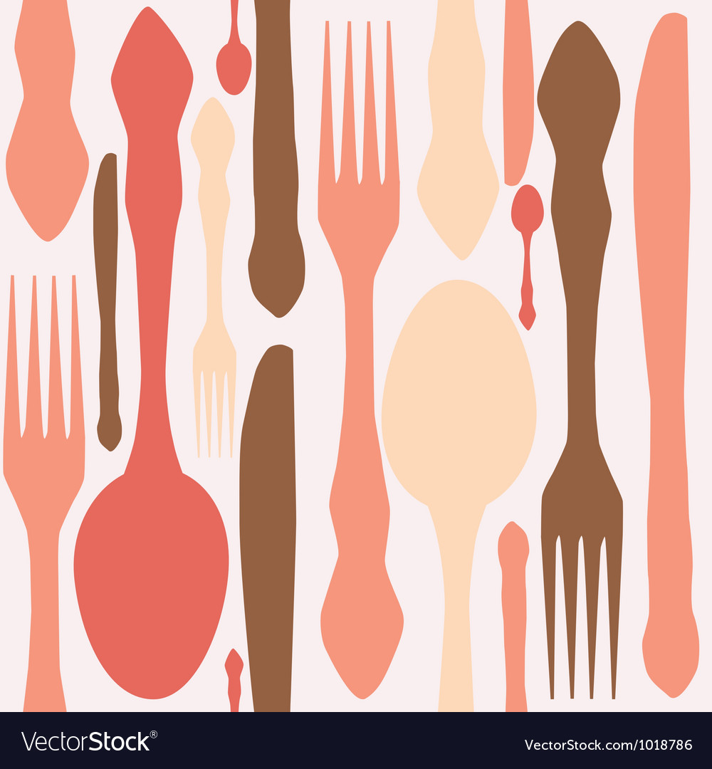 Seamless pattern with forks spoons end knifes vector | Price: 1 Credit (USD $1)