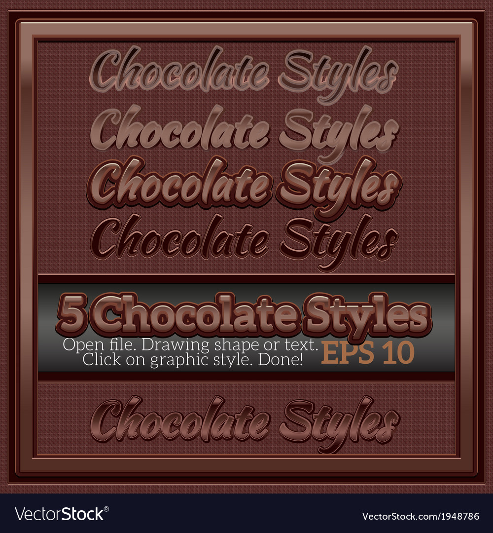 Set of chocolate graphic styles for design vector | Price: 1 Credit (USD $1)