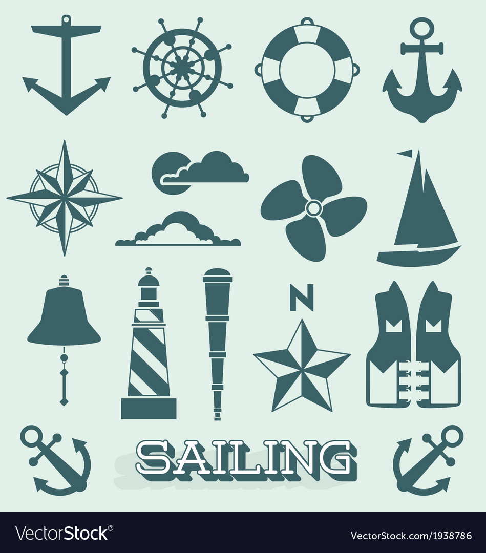 Set sailing icons and symbols vector | Price: 1 Credit (USD $1)