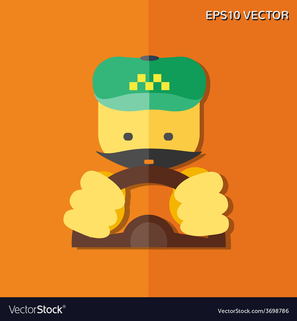 Taxi driver flat icon vector | Price: 1 Credit (USD $1)