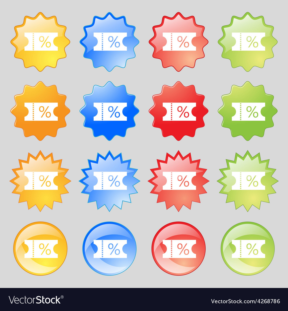 Ticket discount icon sign big set of 16 colorful vector | Price: 1 Credit (USD $1)