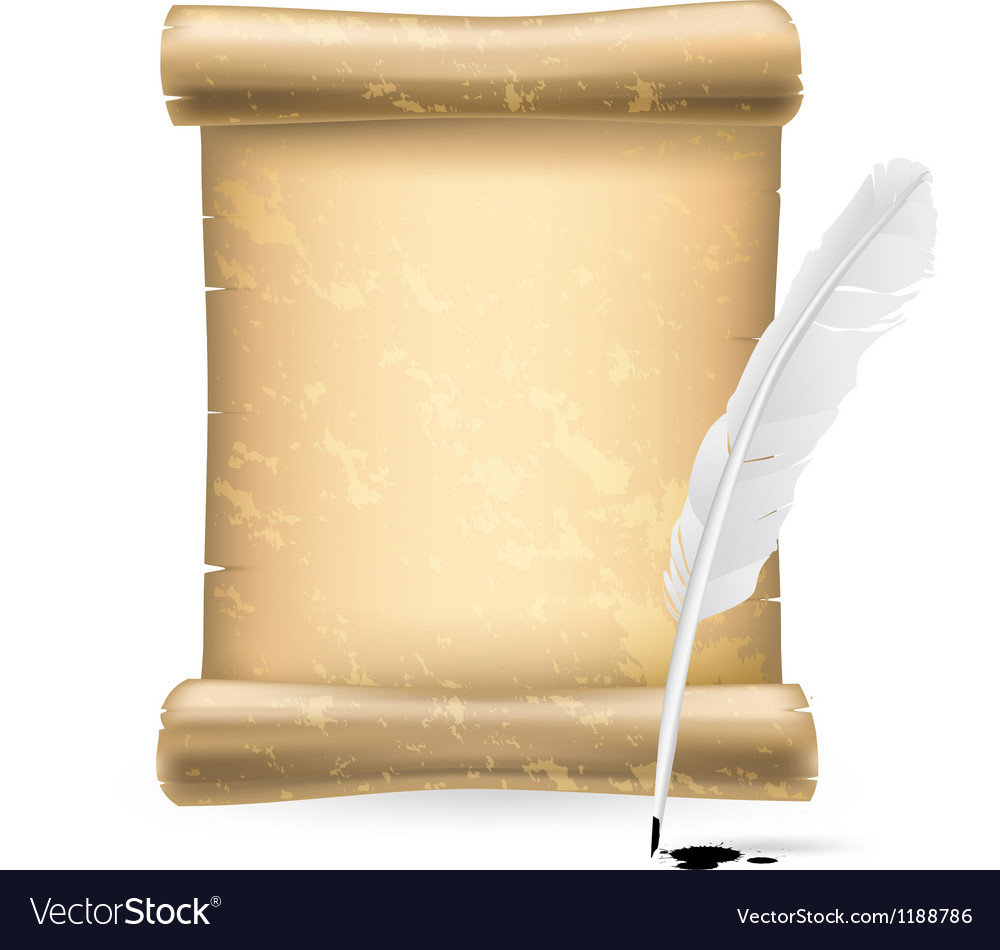 White feather and old scroll vector | Price: 3 Credit (USD $3)