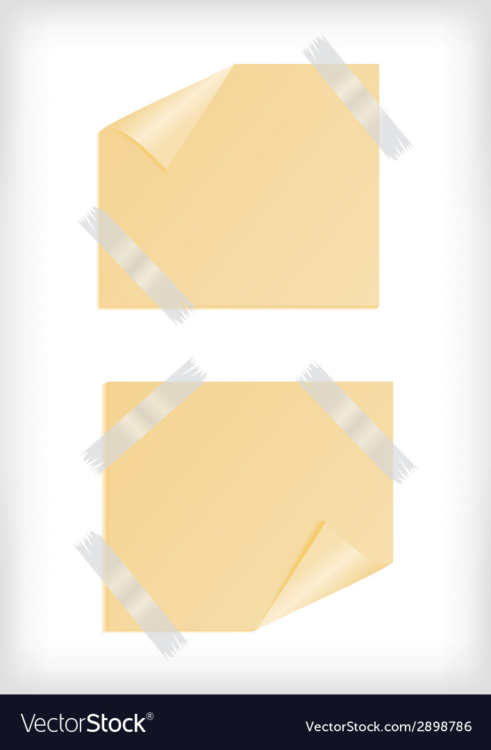 Yellow stickers with curled corner and scotch tape vector | Price: 1 Credit (USD $1)