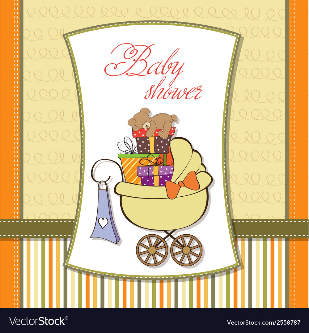 Baby shower card with gift boxes vector | Price: 1 Credit (USD $1)