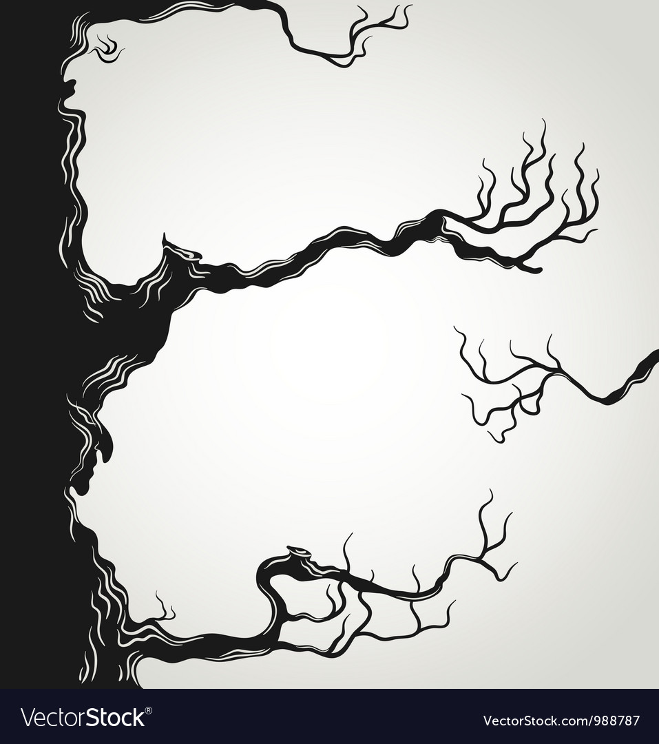 Black tree branches silhouette vector | Price: 1 Credit (USD $1)