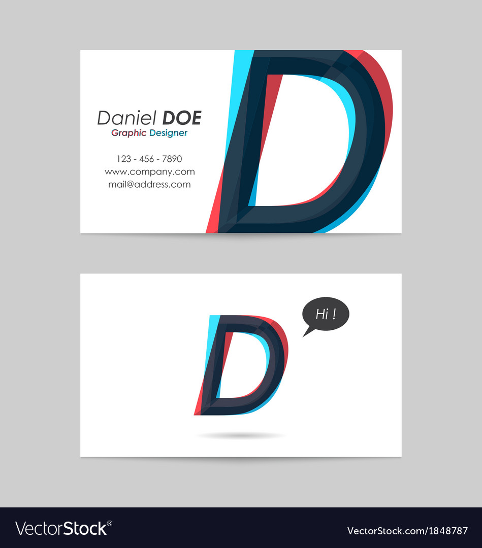 Business card template - letter d vector | Price: 1 Credit (USD $1)
