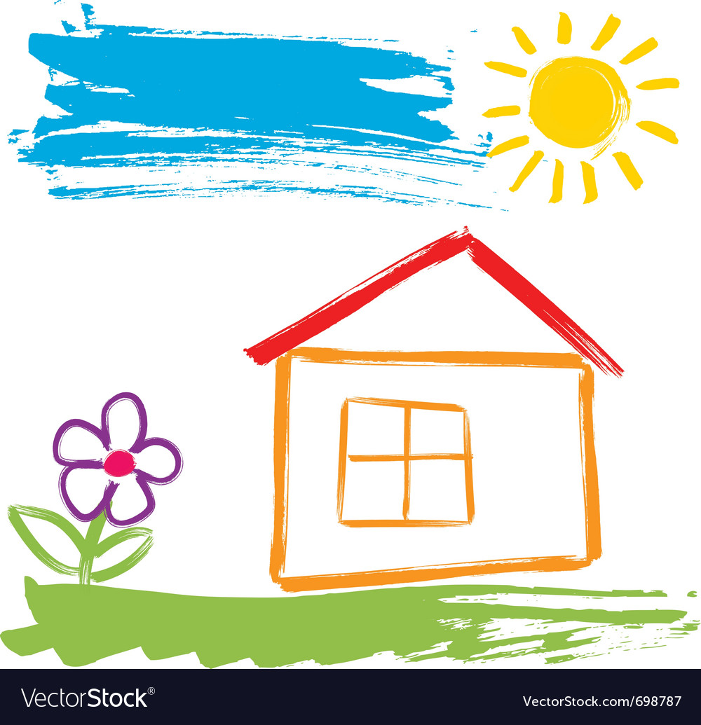 Colorful house painted vector | Price: 1 Credit (USD $1)