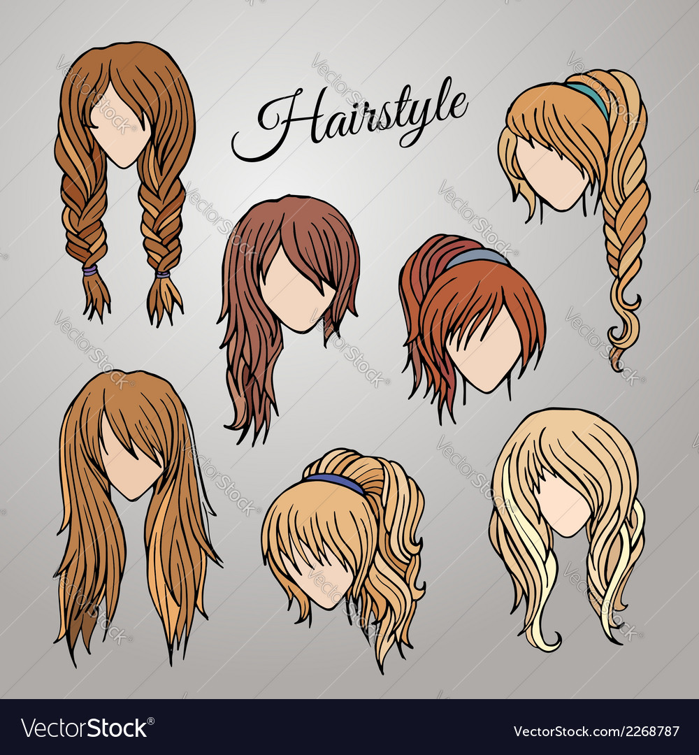 Different cartoon hairstyles vector | Price: 1 Credit (USD $1)