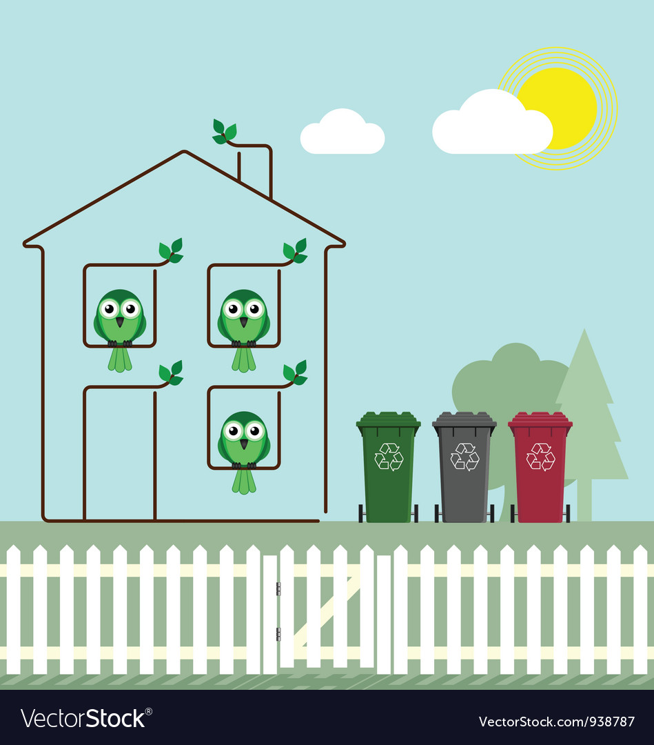 Eco green house vector | Price: 1 Credit (USD $1)