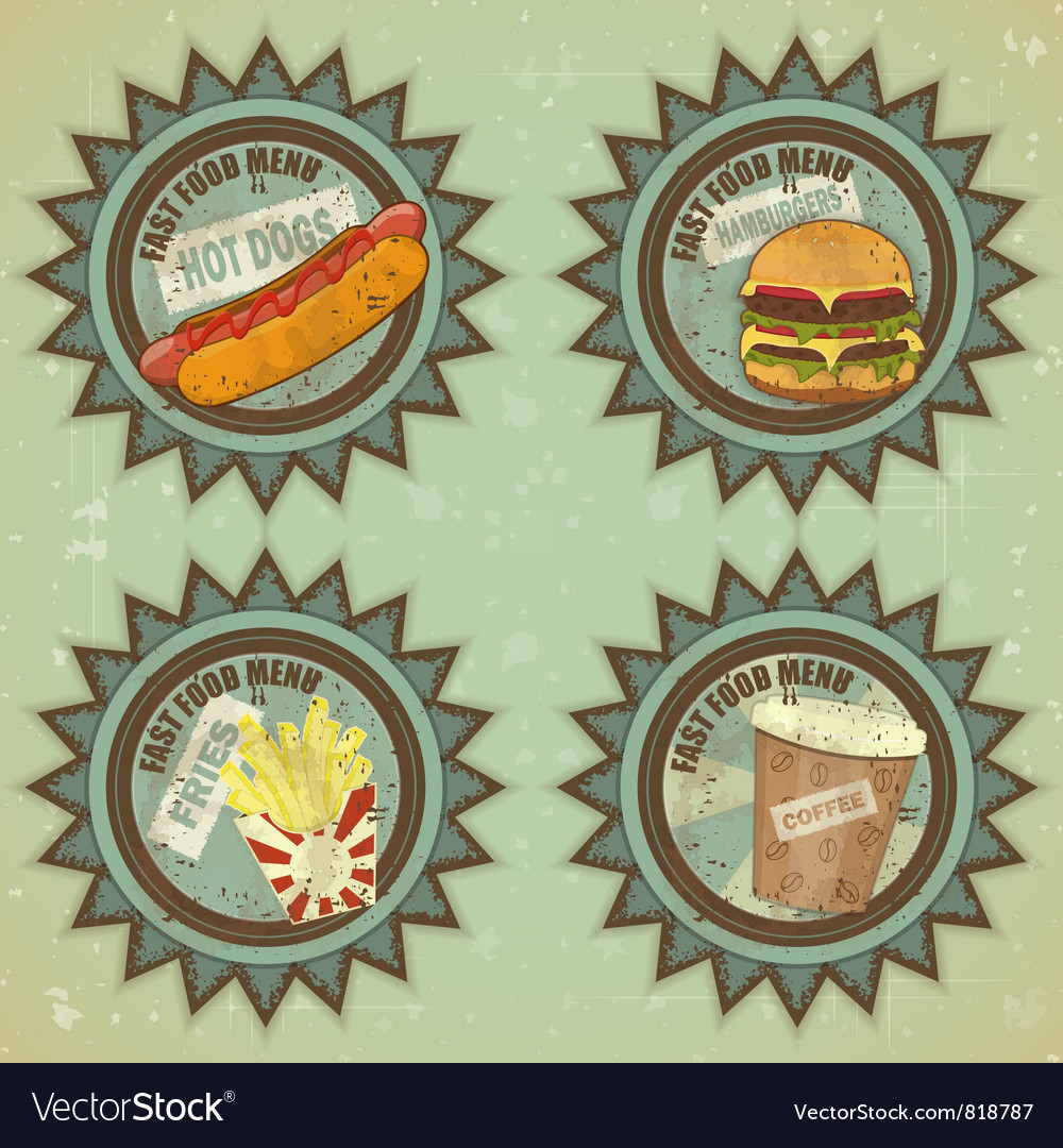 Fast food labels vector | Price: 1 Credit (USD $1)