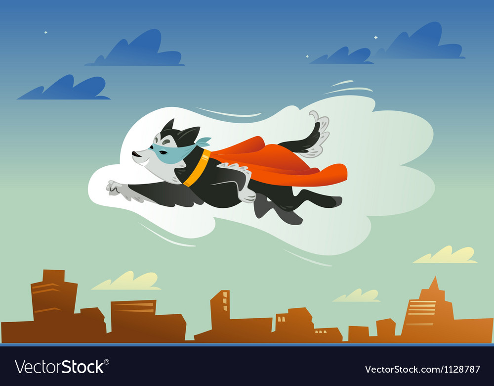 Flying super hero dog in the fly vector | Price: 1 Credit (USD $1)