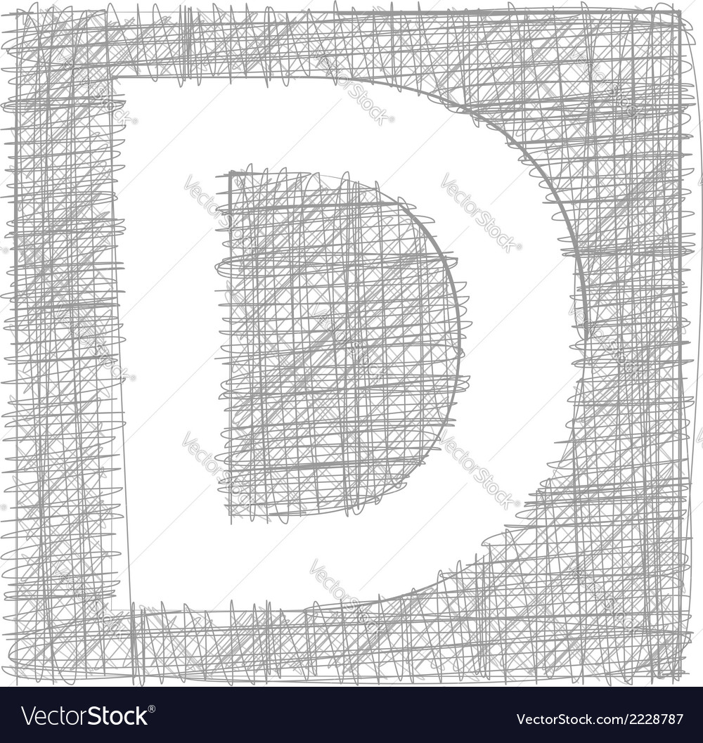 Freehand typography letter d vector | Price: 1 Credit (USD $1)