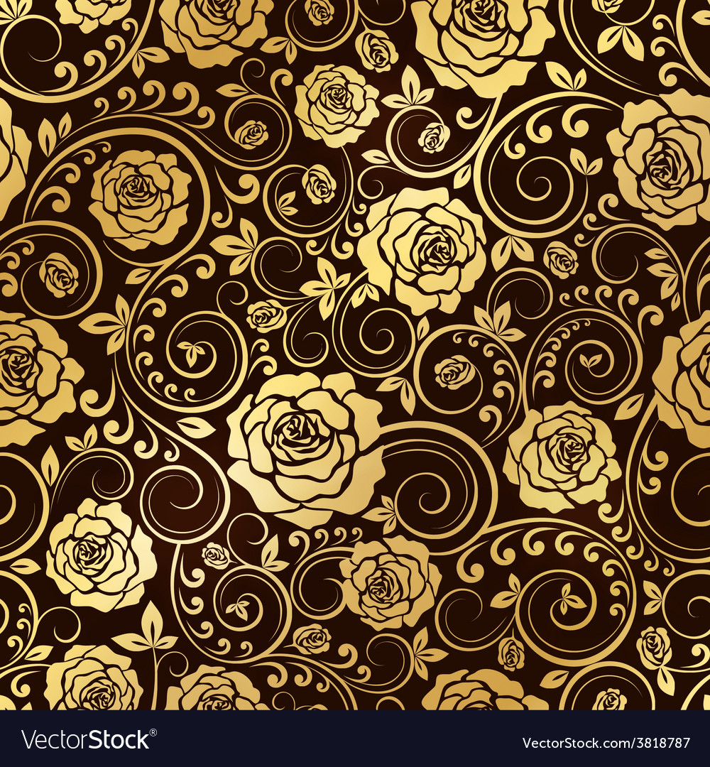 Golden ornament of roses vector | Price: 1 Credit (USD $1)