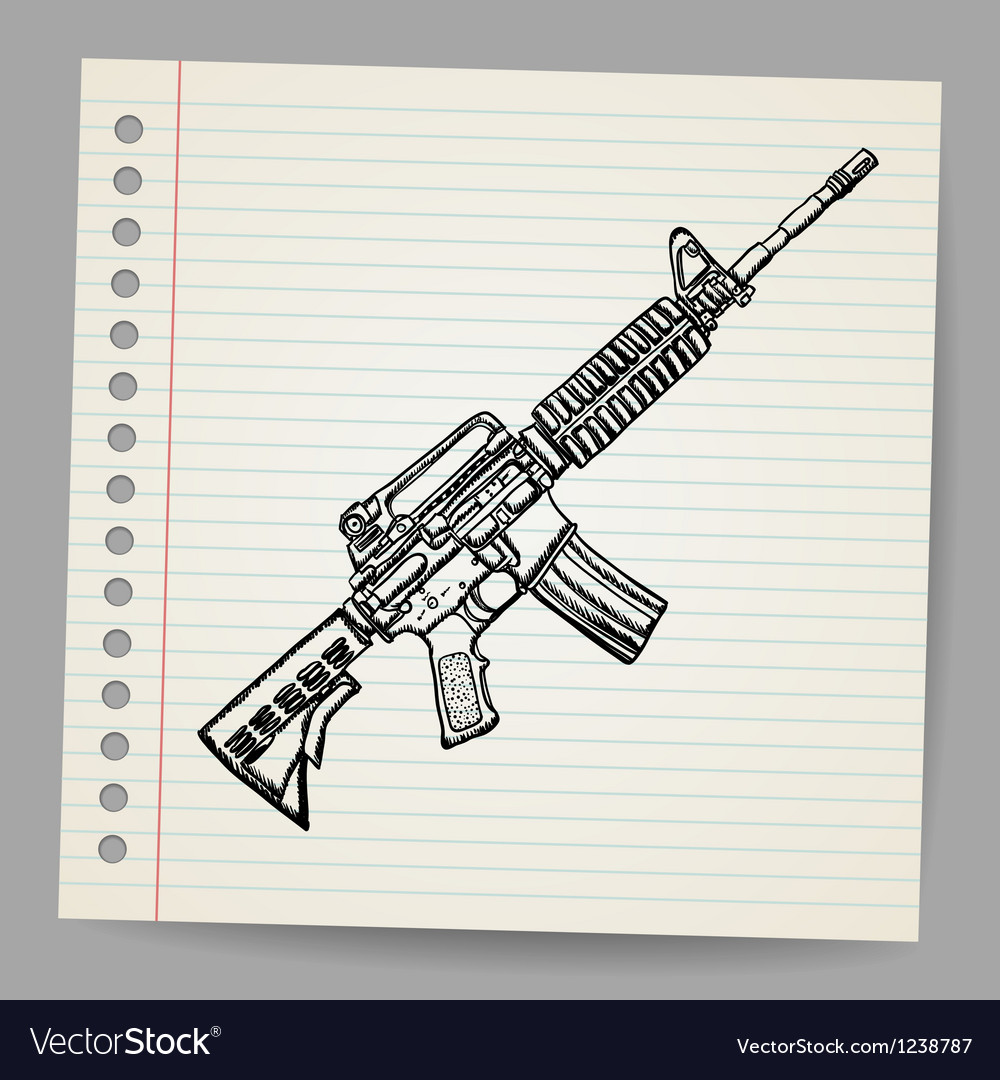 M16 doodle vector | Price: 1 Credit (USD $1)