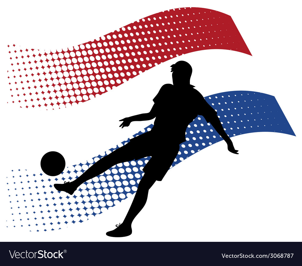 Netherlands soccer player against national flag vector | Price: 1 Credit (USD $1)