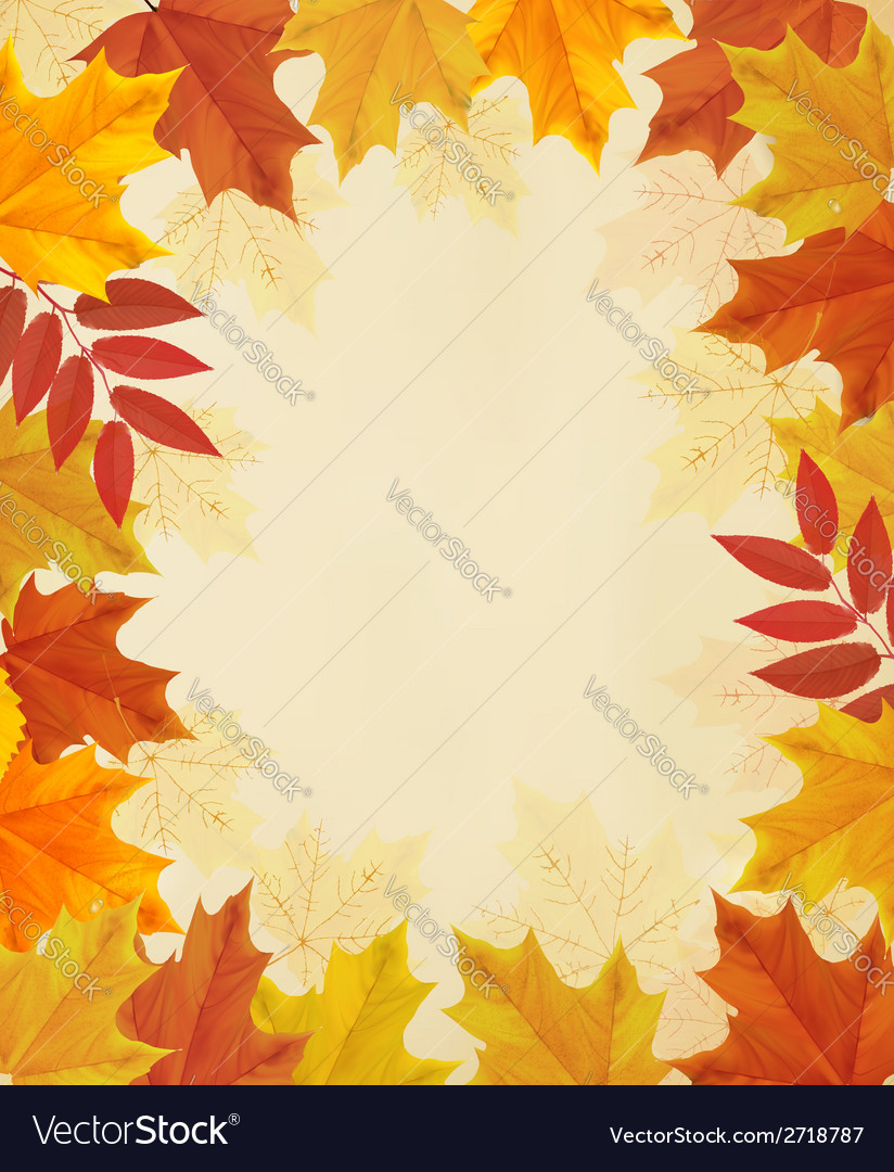 Retro autumn background with colorful leaves vector | Price: 1 Credit (USD $1)
