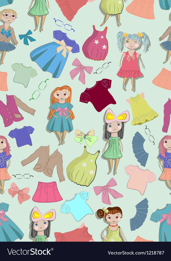 Seamless background with children and clothes vector | Price: 1 Credit (USD $1)