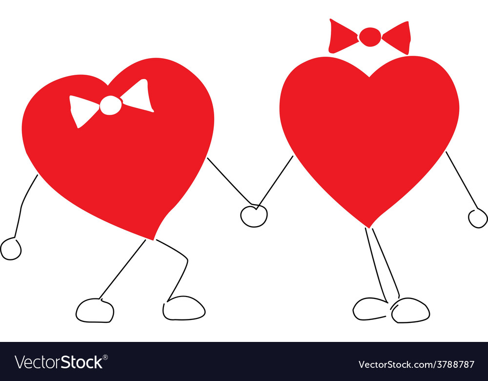 Two lovers heart vector