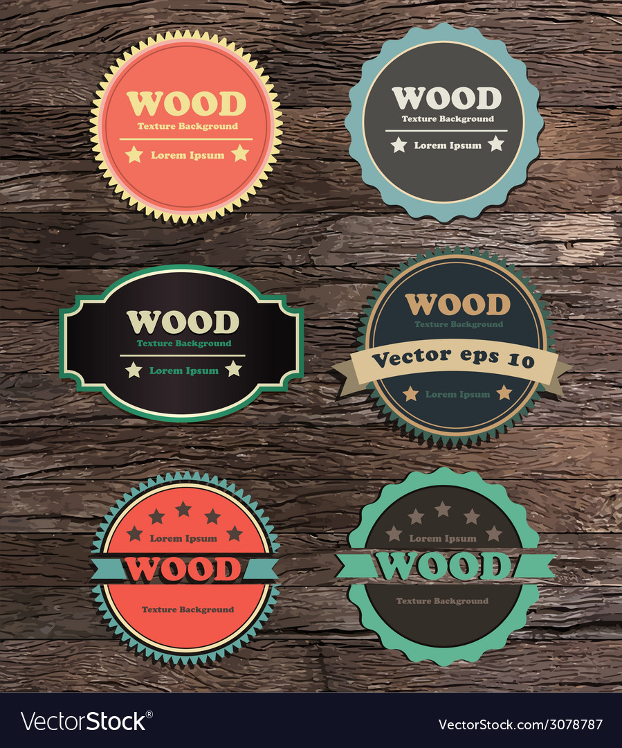 Vintage label collection on wood texture vector