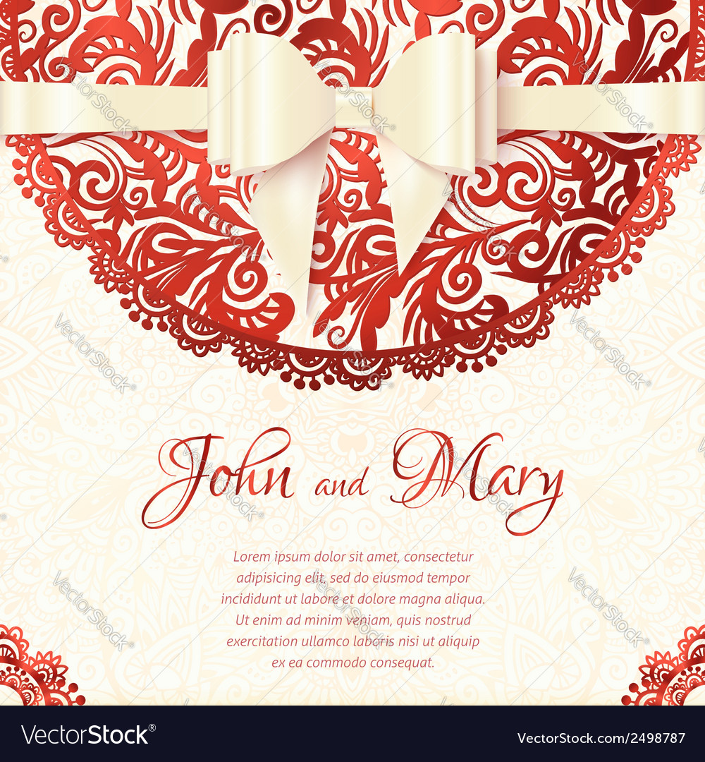 White and red vintage lacy wedding card vector | Price: 1 Credit (USD $1)