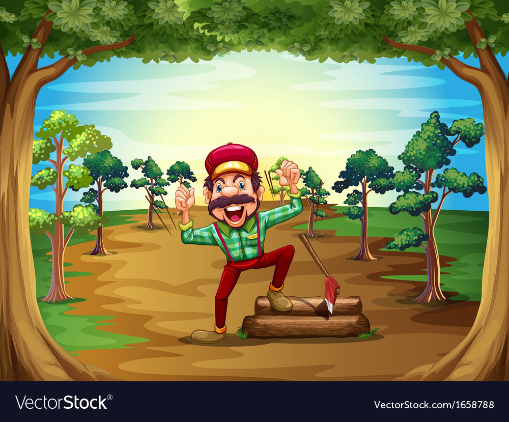 A cheerful lumberjack in the middle of the trees vector | Price: 3 Credit (USD $3)