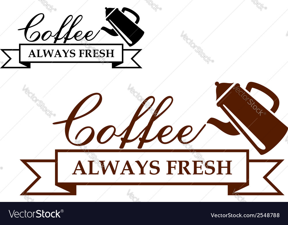 Always fresh coffee icon or label vector | Price: 1 Credit (USD $1)
