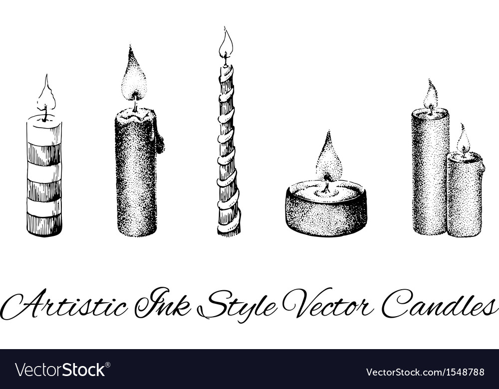 Artistic ink style collection of candles vector | Price: 1 Credit (USD $1)