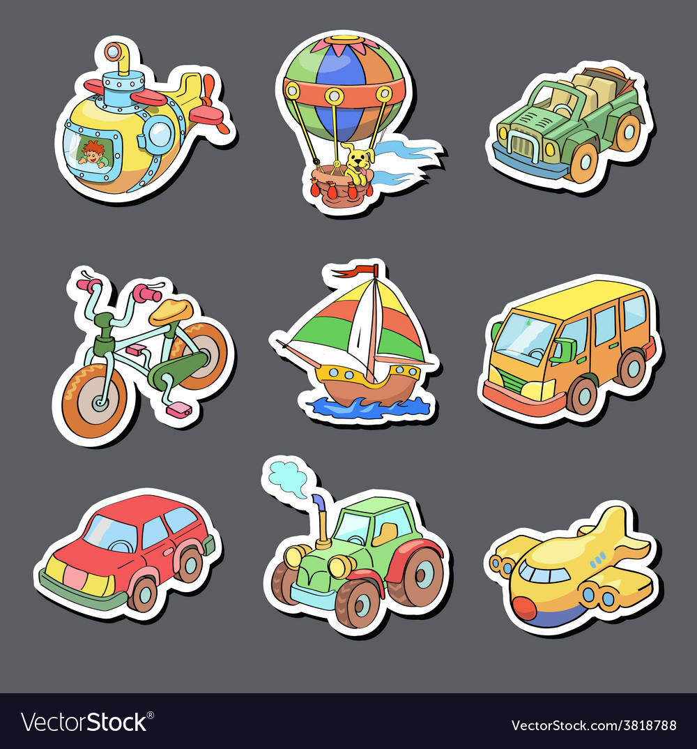 Cartoon collection of transportation - colored vector | Price: 1 Credit (USD $1)