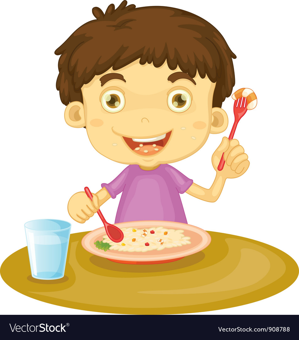 Child eating vector | Price: 3 Credit (USD $3)
