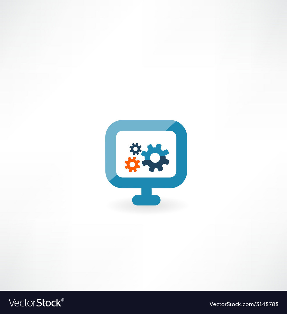 Computer icon with cogs vector | Price: 1 Credit (USD $1)