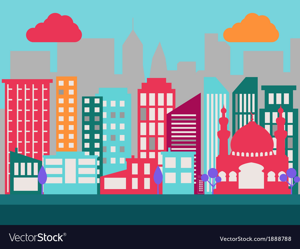 Flat city scene 2 vector | Price: 1 Credit (USD $1)