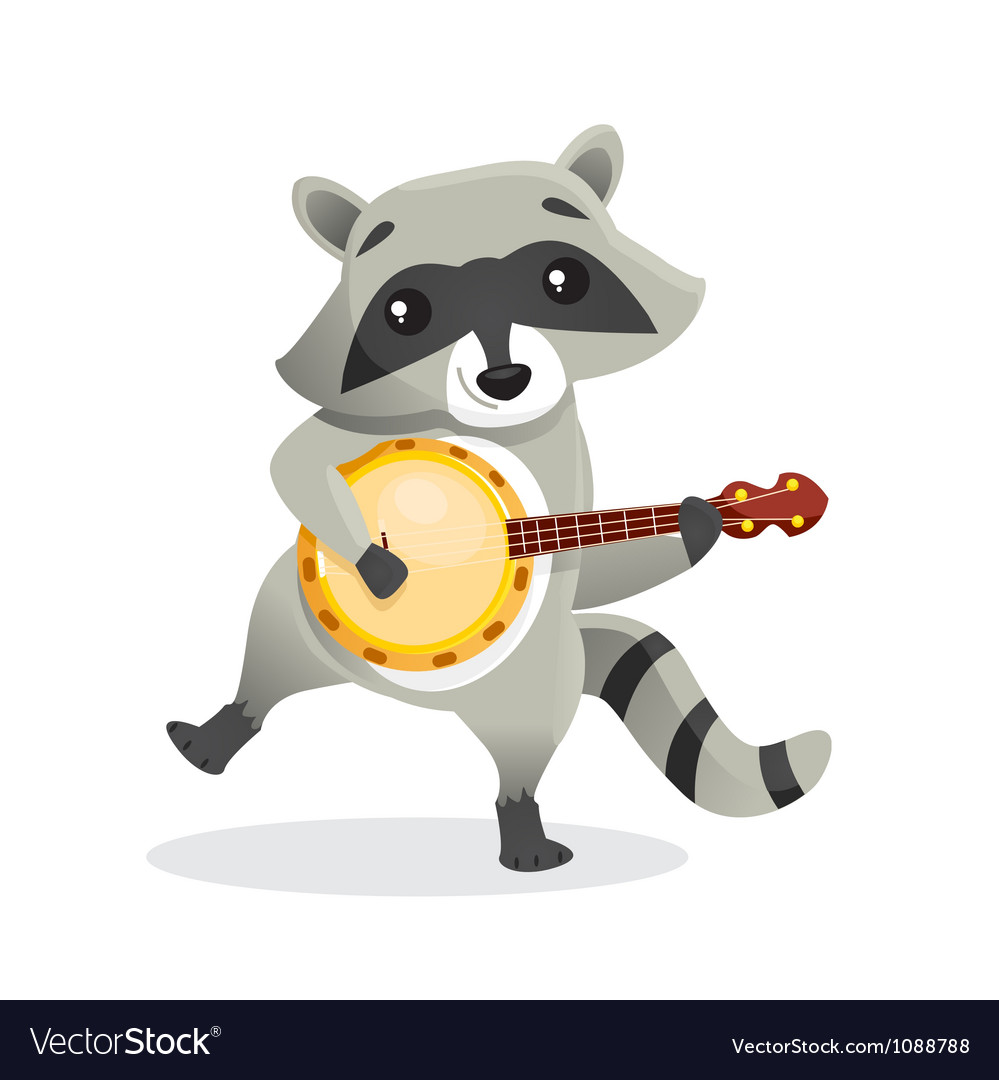 Musical animals racoon banjo vector | Price: 1 Credit (USD $1)