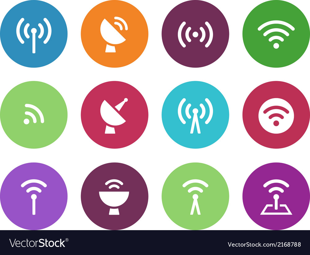 Radio tower circle icons on white background vector | Price: 1 Credit (USD $1)