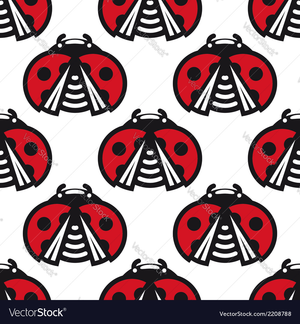 Seamless pattern of little spotted red ladybugs vector | Price: 1 Credit (USD $1)