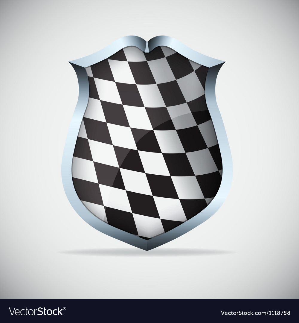 Shield with checkered flag vector | Price: 1 Credit (USD $1)